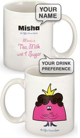 Personalised Office Character Mug £10.95.
