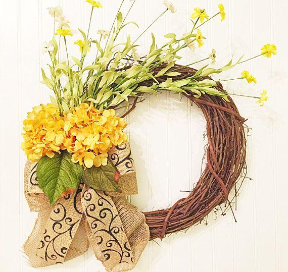 summer door wreath, summer wreath, spring wreath, summer decor, wreath, hydrangea wreath, yellow wreath