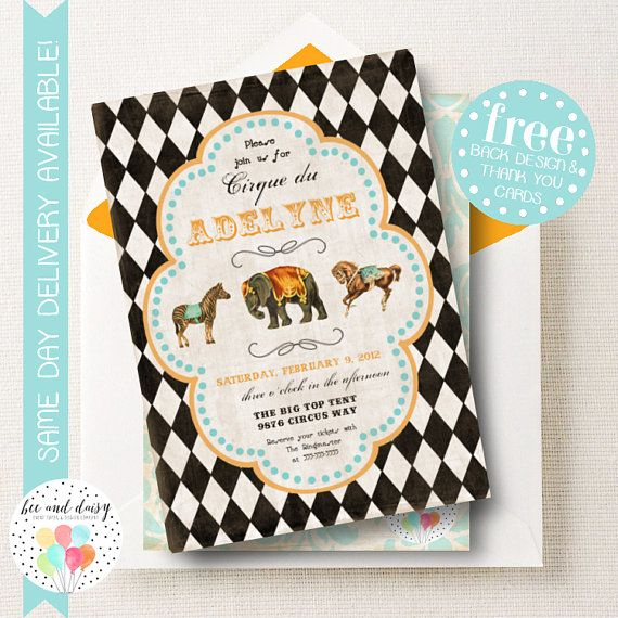 Circus Invitation Birthday Party Vintage French BeeAndDaisy KB11