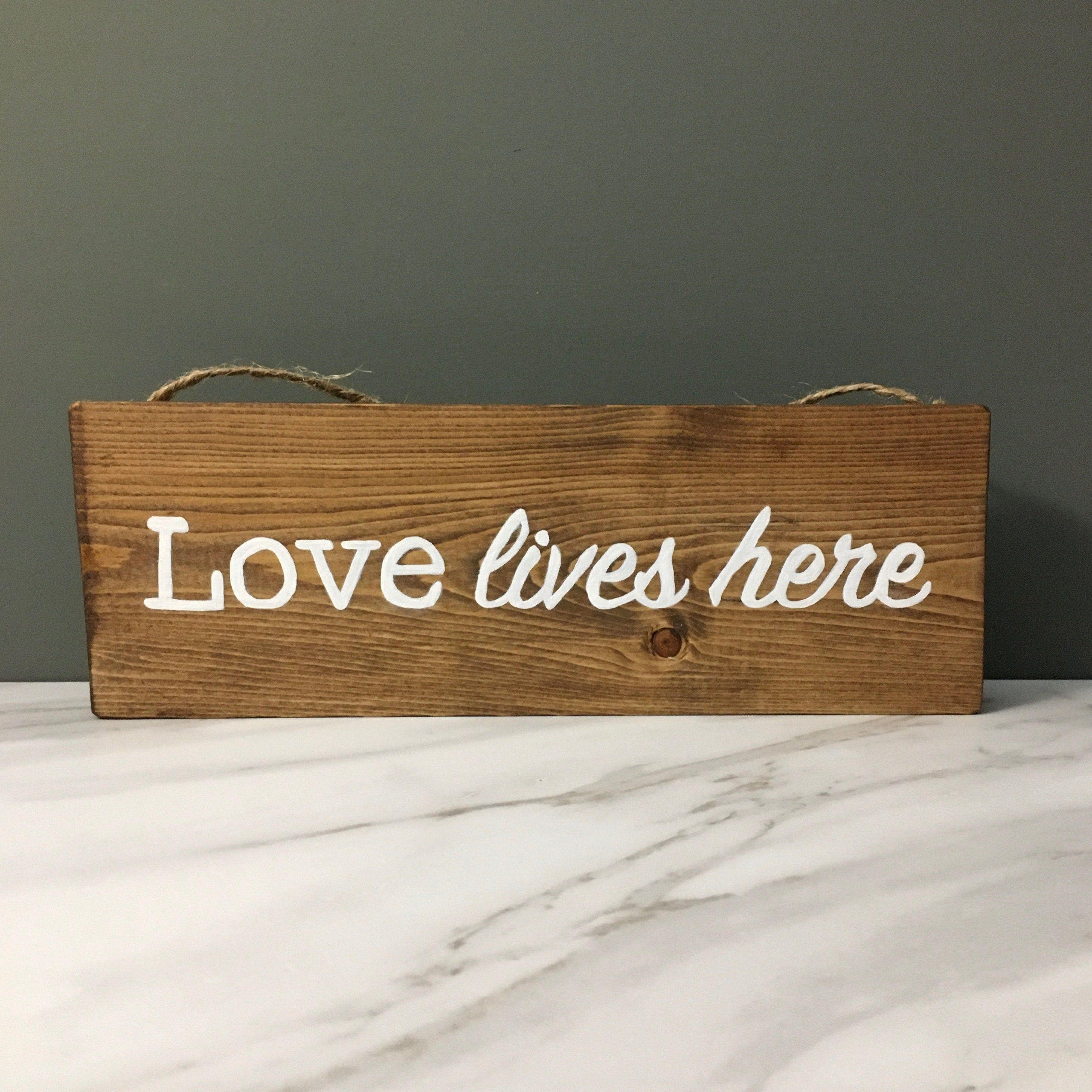 Love Lives Here Wood Sign Living Room Wall Decor Farmhouse Wood Sign Love Wall Decor Farmhouse Wall Decor Love Sign Housewarming Gift In 2020 Farmhouse Wall Decor Wood Signs Love Wall