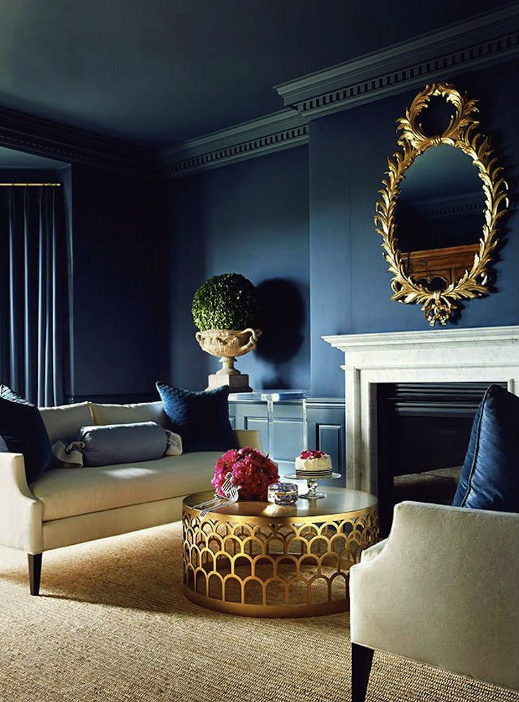 Living RoomBlue Room with Blue WallsGold MirrorGold