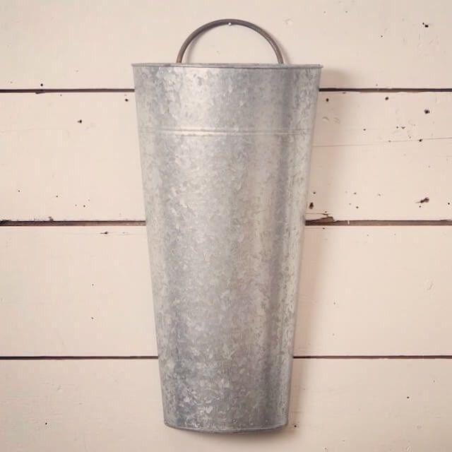 Medium Galvanized Half Hanging Wall Bucket Galvanized Tin Walls Wall Flower Vases Tin Walls