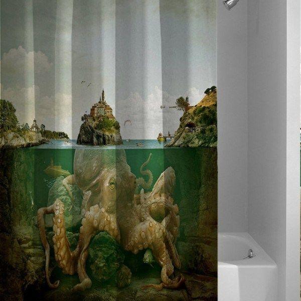Octopus Ocean Custom Best Design Giant Kraken Shower Curtain
