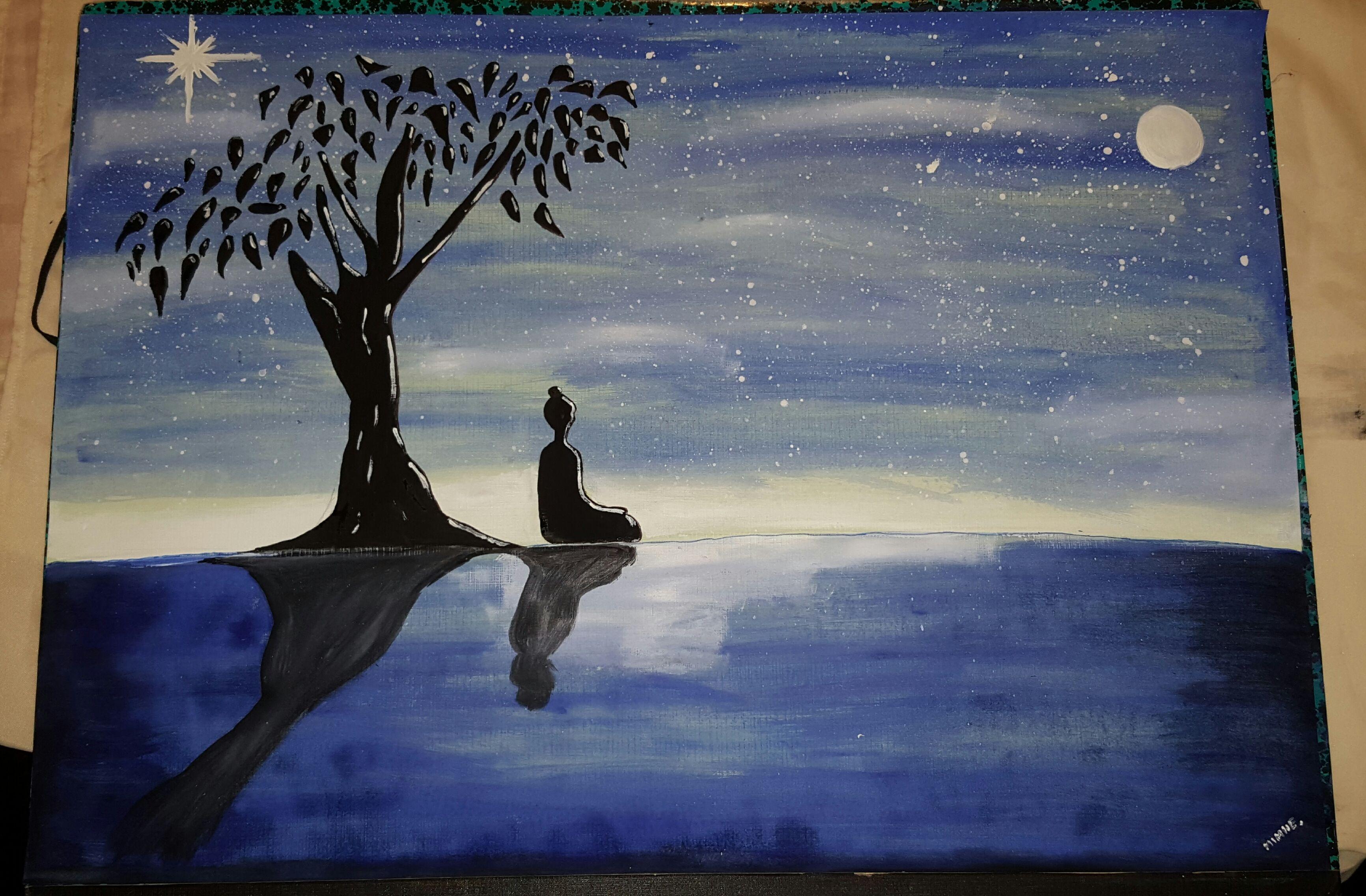 Landscape Night View With Buddha Landscape Fan Art Art