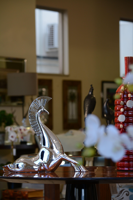 Decoração, estatueta, flores, arte, casa, interiores, mesa, beleza.