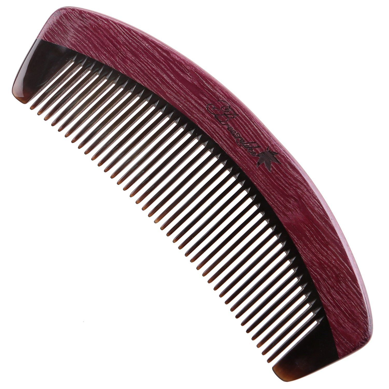 Breezelike No Static Handleless Black Buffalo Horn with Purpleheart Wood Comb -- You can find more details by visiting the image link.