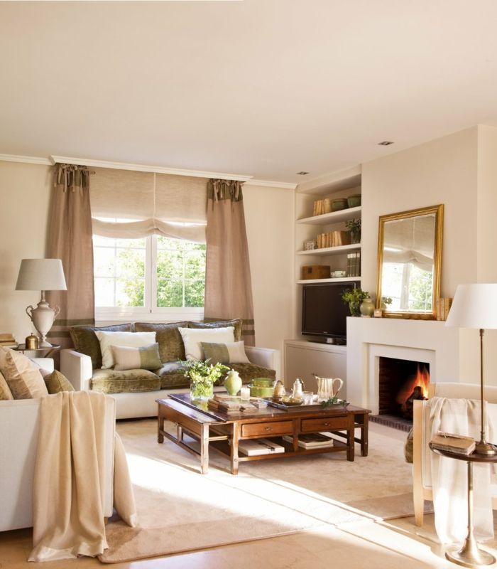 kleines wohnzimmer einrichten sessel kamin eingebaute regale - wohnzimmer ideen kamin
