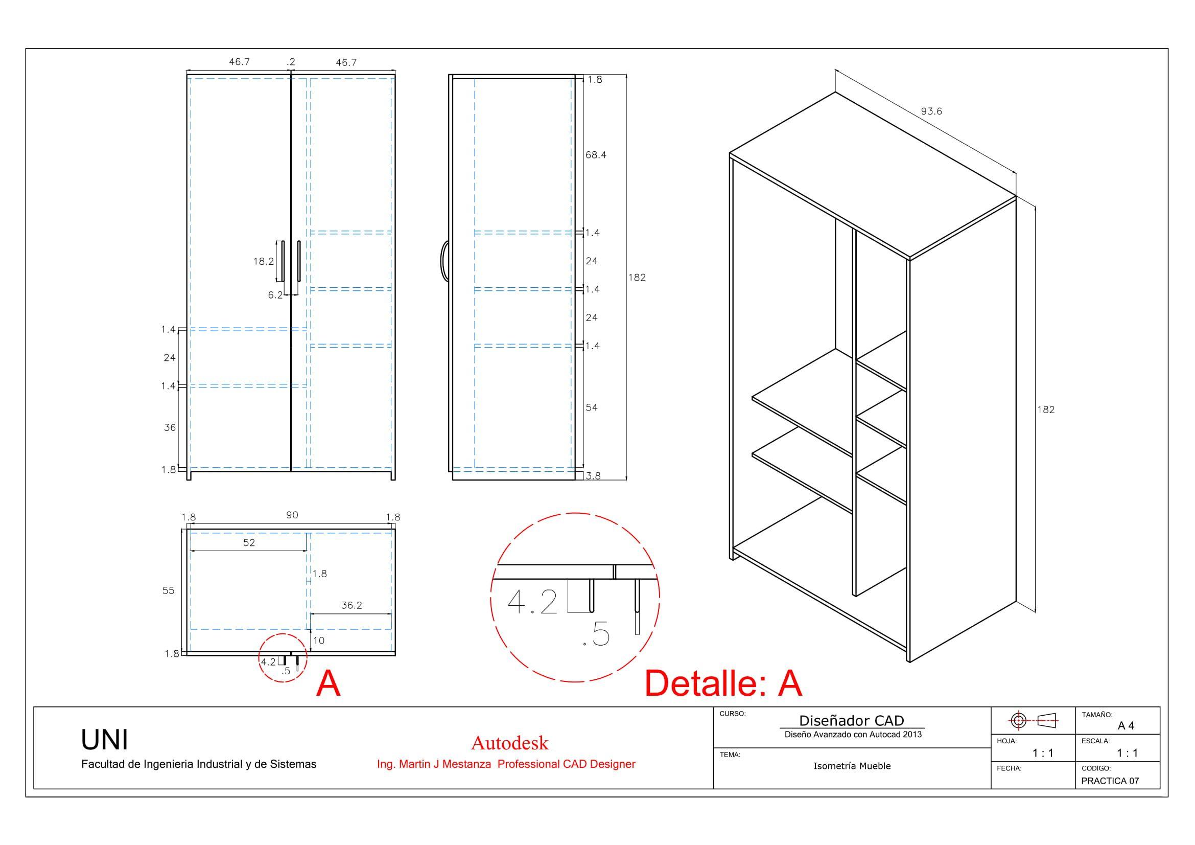 Practica Calificada N 07 Isometria Mueble Autocad Geometric Drawing Sketch Design