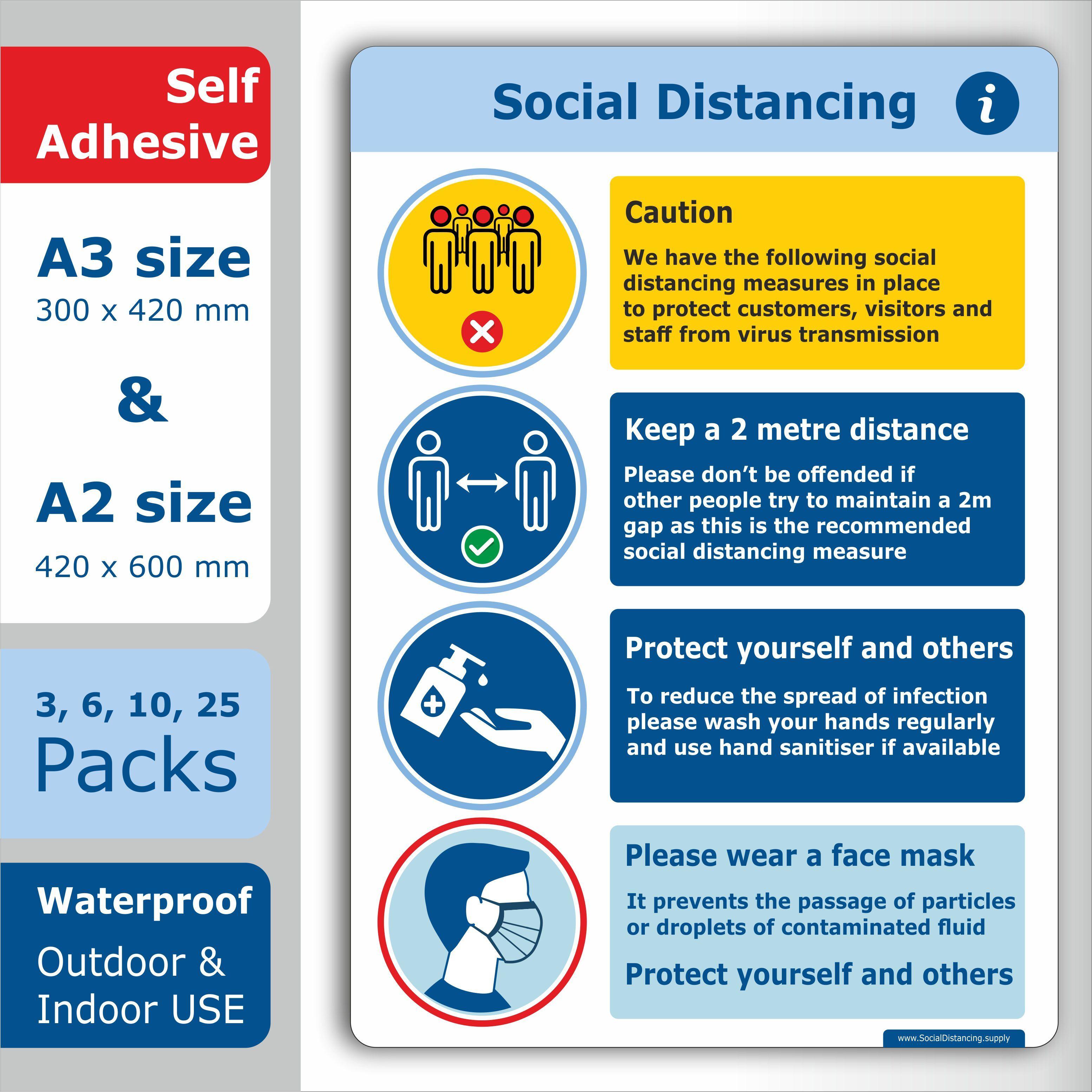 SOCIAL DISTANCING FLOOR STICKERS ANTI-SLIP PACK OF 2-150 x 150mm