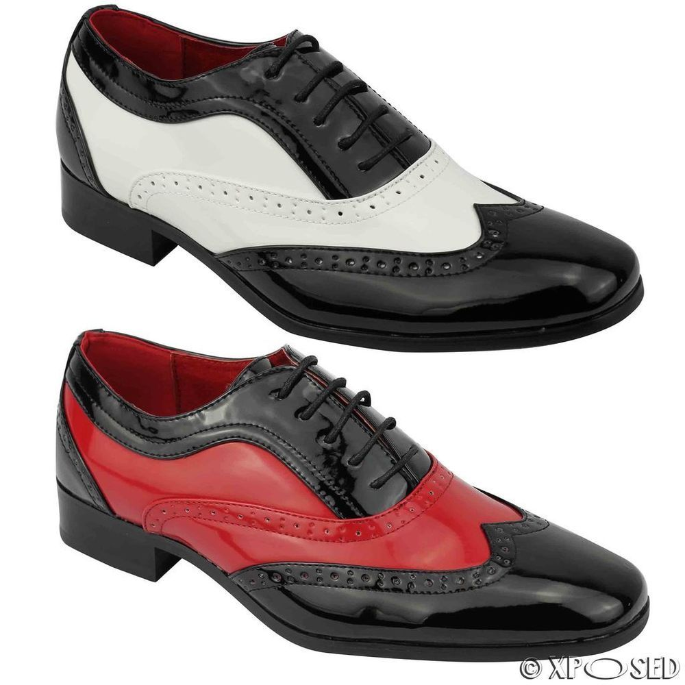 819432bc Mens Patent Shiny Leather Spats Gangster Fancy Dress Smart Brogue Party  Shoes