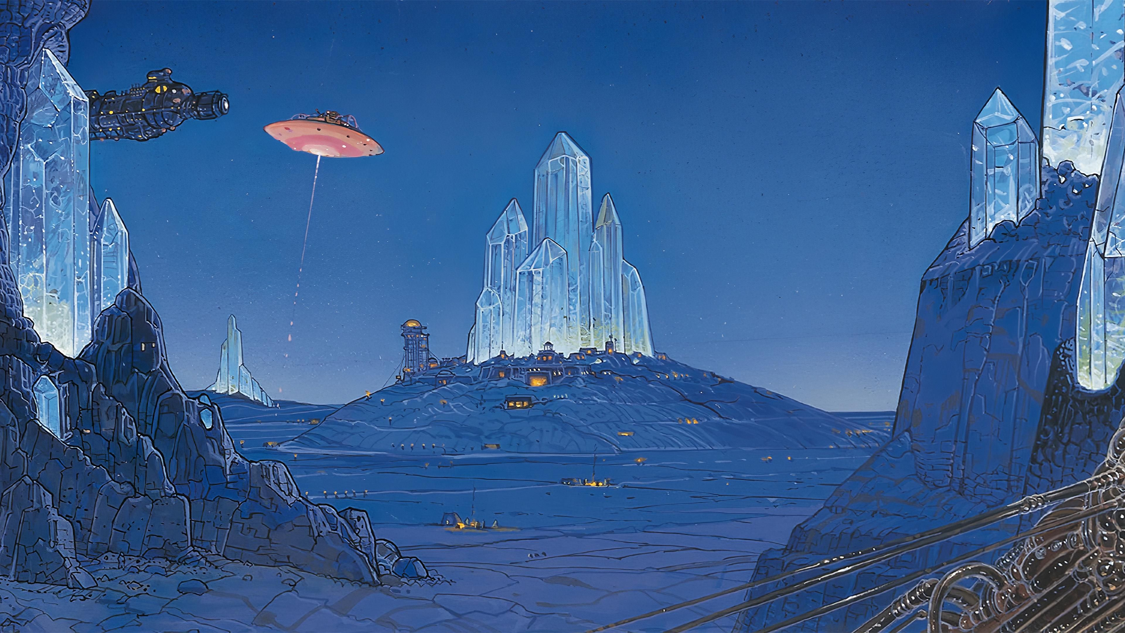 Crystal Shards by Moebius [3840x2160] Great artists