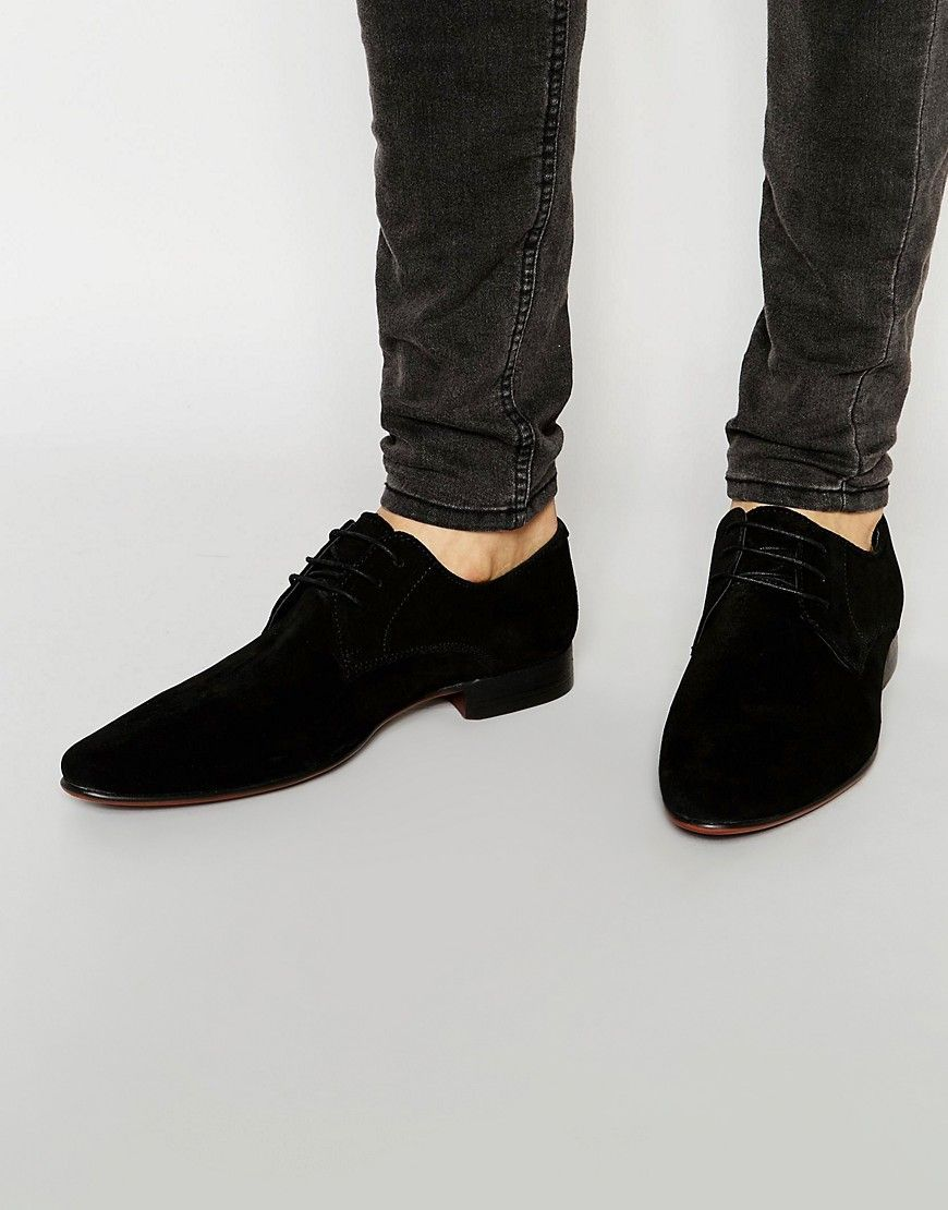Asos Derby Shoes In Black Suede Black Mens Derby Shoes Mens Black Dress Shoes Derby Shoes Men S Outfit [ 1110 x 870 Pixel ]