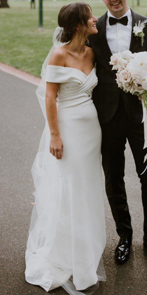 Simple Off Shoulder Satin Backless Mermaid Cheap Wedding Dresses, FC1863