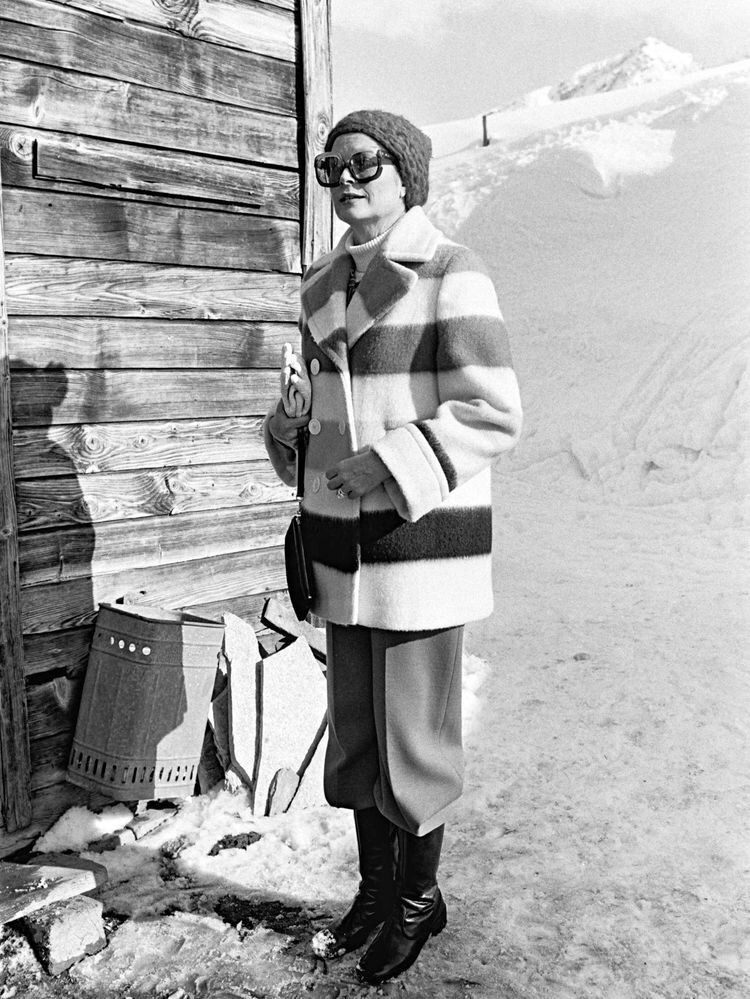 Princess Grace wearing the iconic Hudson Bay coat in Gstaad, Switzerland.