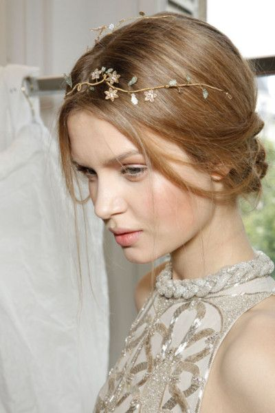 Josephine Skriver backstage at Valentino Couture Fall hair accessories