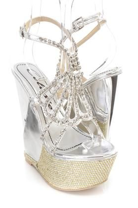 155c76ebfd6f7 CELESTE  Silver Rhinestone Platform Wedges Faux Leather Buy Now  5.99 Find  at…