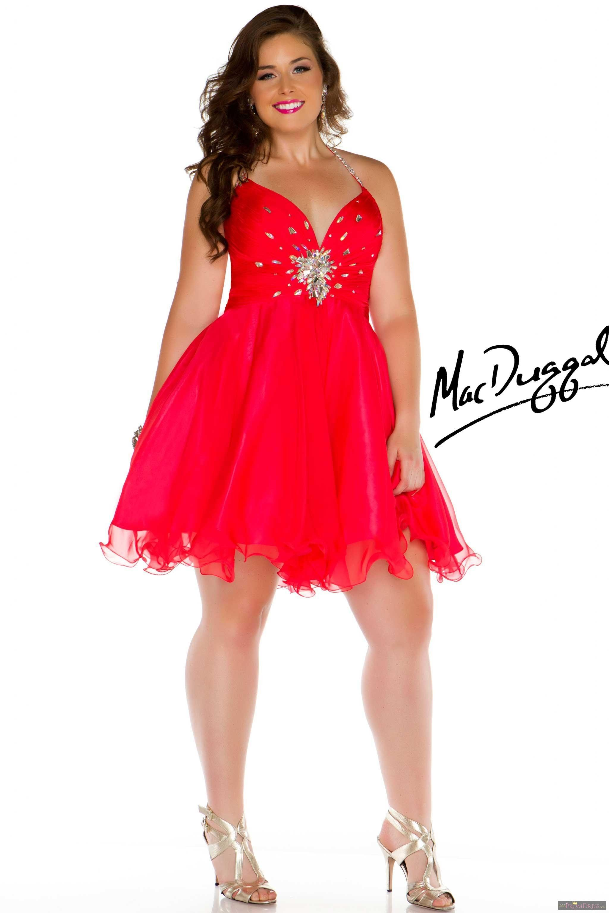 055c173e45d Mac Duggal Style 64496K - Sexy short and soft halter plus size prom dress  with heat set stones throughout the bust with center stone cluster. Awesome  short ...