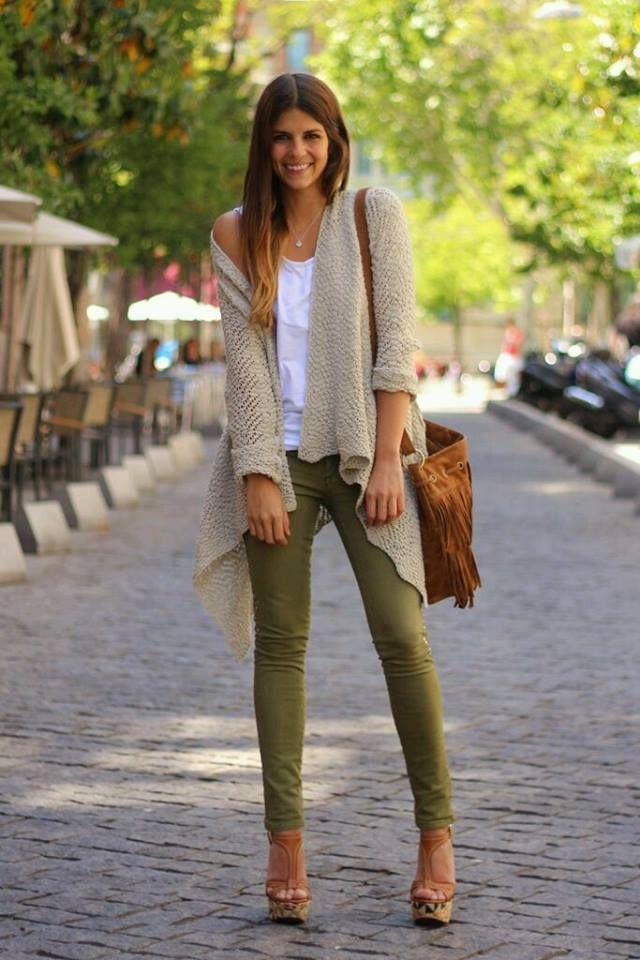 Verde militar y marron | outfits look de mujer... | Pinterest | Marru00f3n Militar y Verde
