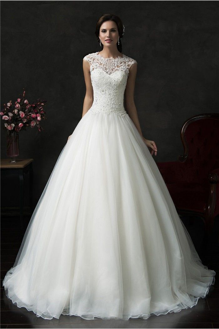 Beautiful Ball Gown Cap Sleeve Organza Lace Wedding Dress With Jacket dfa2706e0b