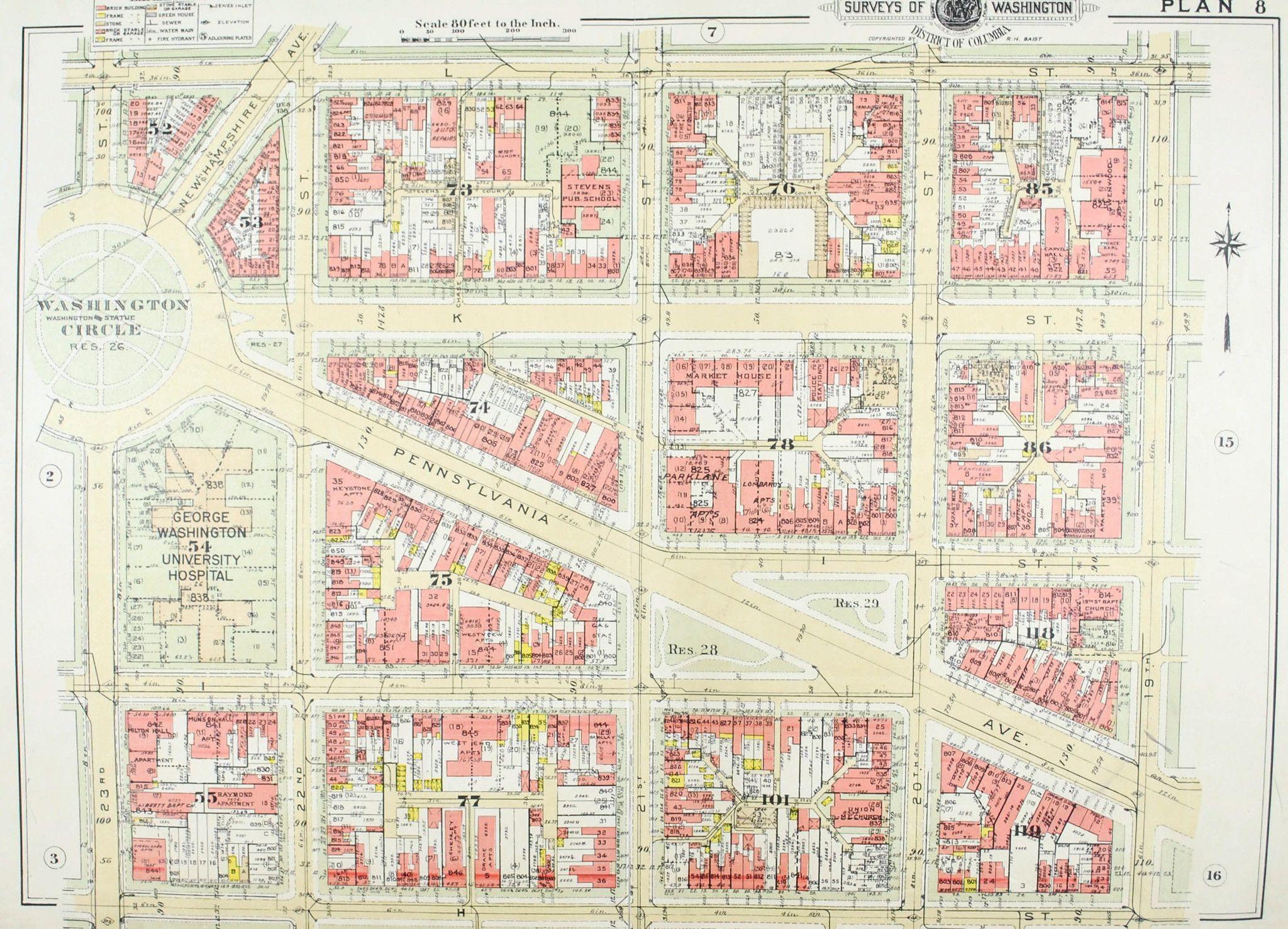 Washington DC George Washington University Vintage Baist City Map
