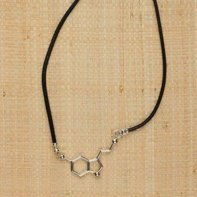 Sterling Silver Serotonin Molecule Necklace - Special for me since I'm serotonin deficient.