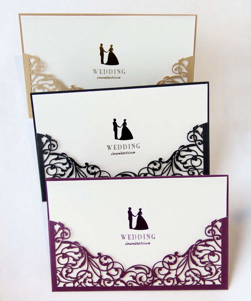laser cut wedding invitations with blank insert card and envelope