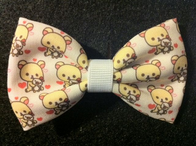 Bear Kawaii Themed Fabric Hair Bow from Crashedhope Designs