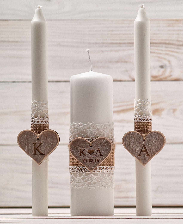 Wedding Unity Candle Set Rustic Church Ceremony Personalized Custom