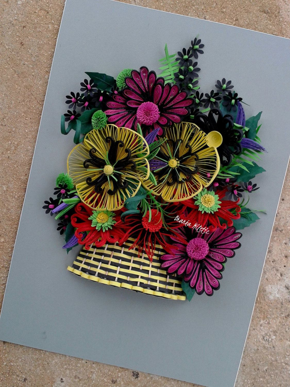 Colorful Paper Quilling Flowers Basket Home Wall Art Decor ...