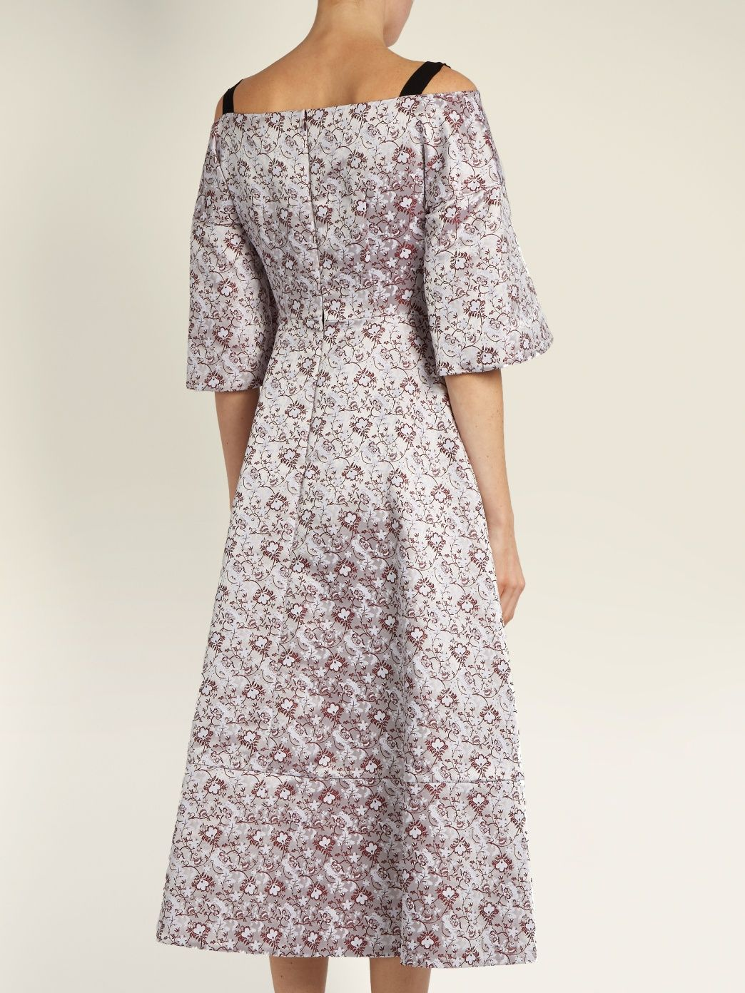 Karol V-neck satin-jacquard dress Erdem BBMQ2e8L9