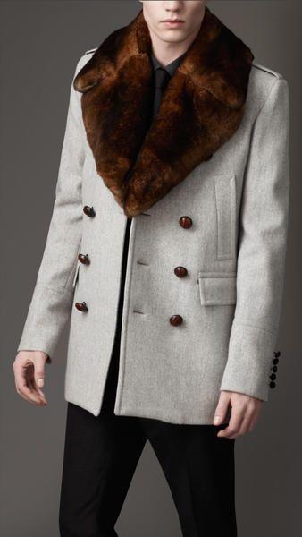 2a3bb5bbdb5 Burberry Fur Collar Pea Coat in Gray for Men (pale grey melange) - Lyst
