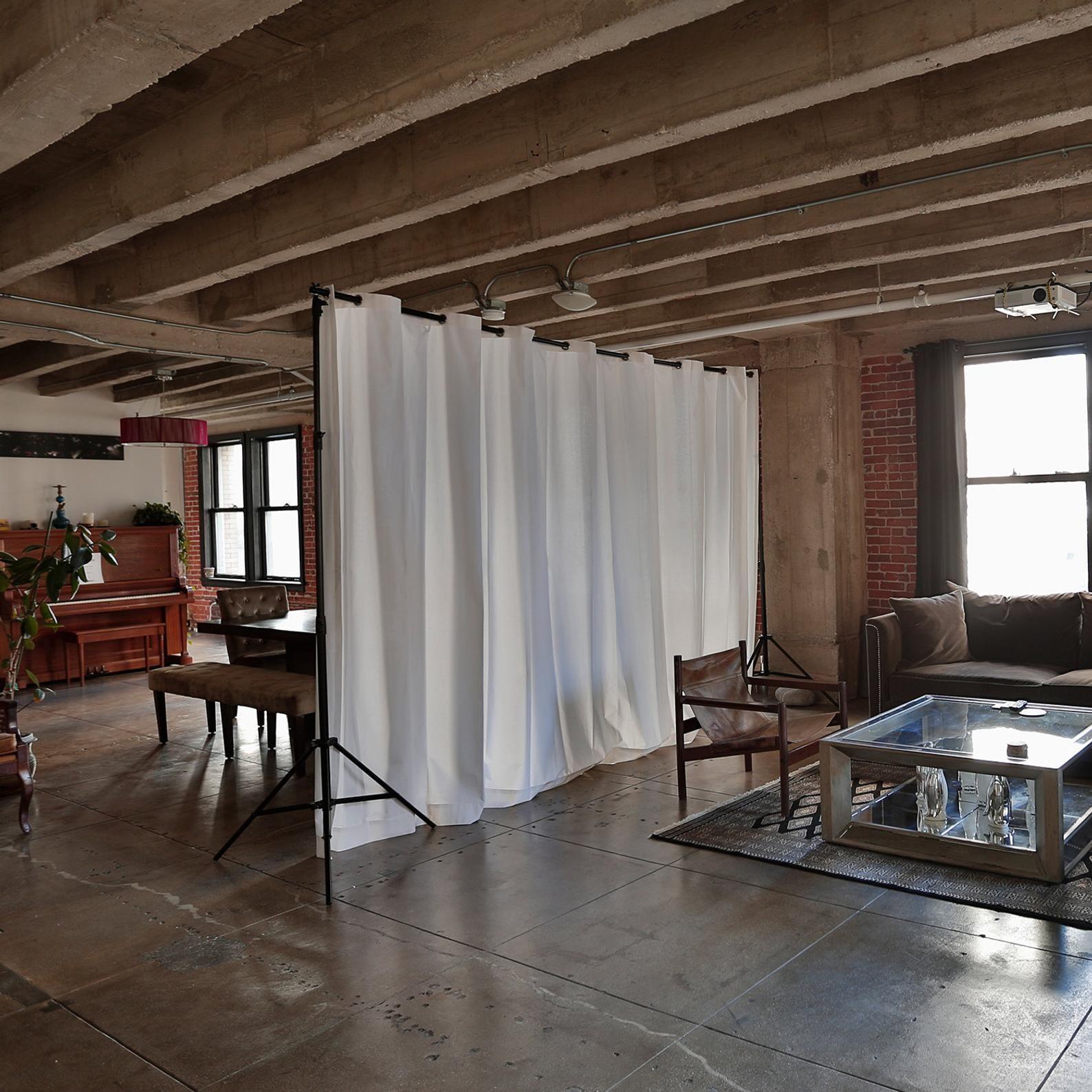 Muslin Freestanding Room Divider Kit For Rooms 8ft To 9ft Etsy In 2021 Freestanding Room Divider Studio Apartment Divider Glass Room Divider