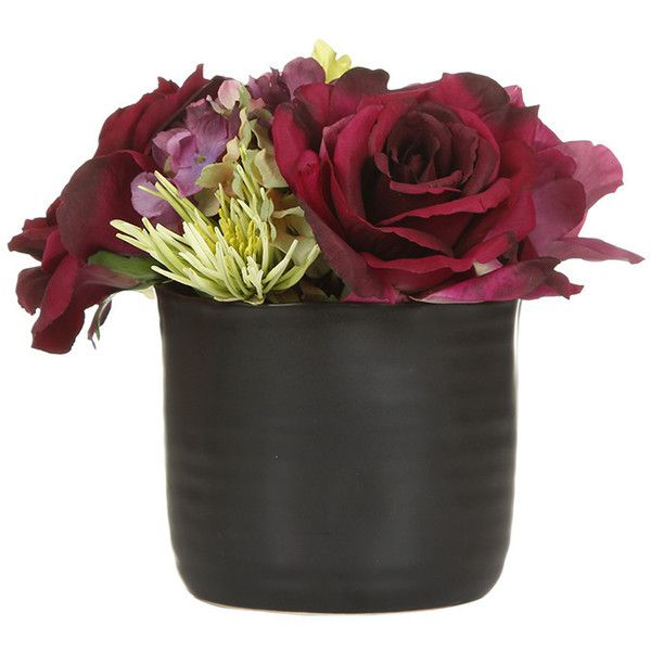 Paper whites plum rose in black vase 82 liked on polyvore paper whites plum rose in black vase 82 liked on polyvore featuring home silk flowersfake mightylinksfo