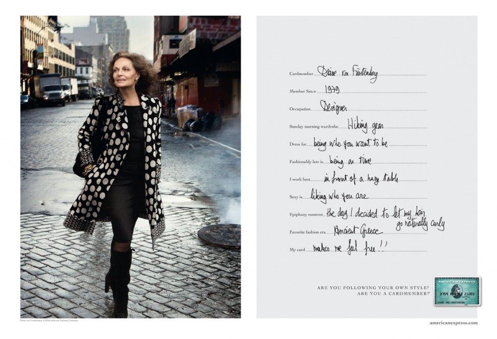 Designer Diane Von Furstenberg For American Express Campaign