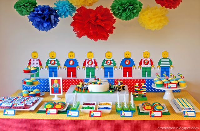 "decorations, water bottles, pin the ""brick"" on the wall, amazing cake, invitation, color a figure, cookies, candy bars, favors."