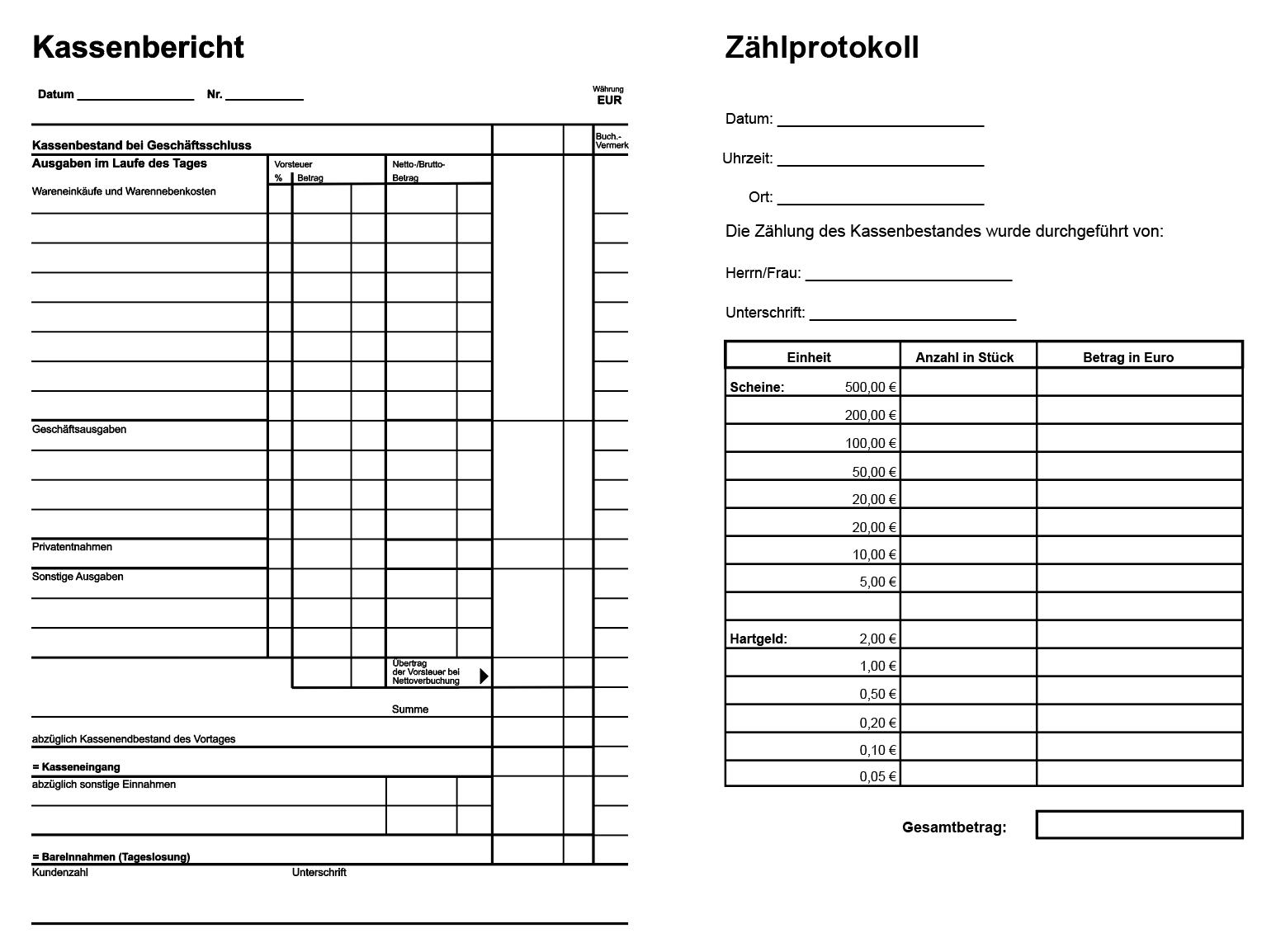 Kassenbericht Und Zahlprotokoll Pdf Vorlagen Geschenkgutschein Vorlage Excel Vorlage