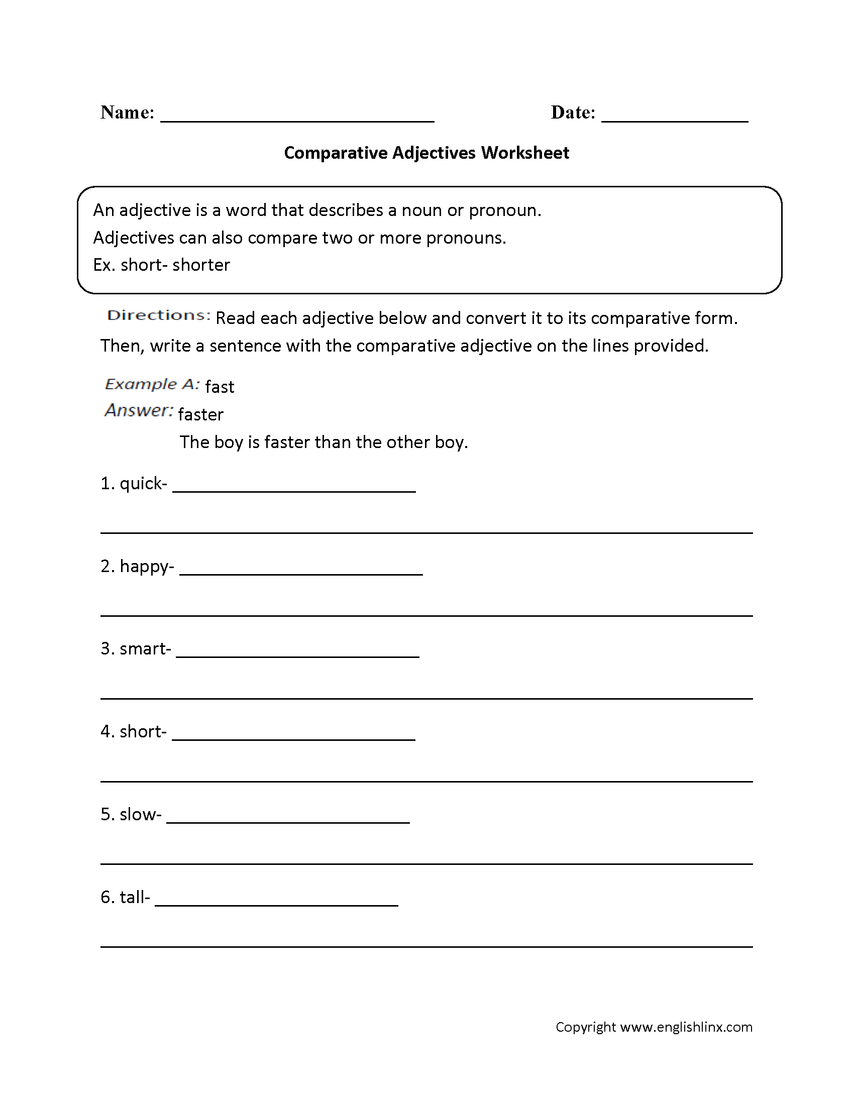 Comparative Adjectives Worksheets