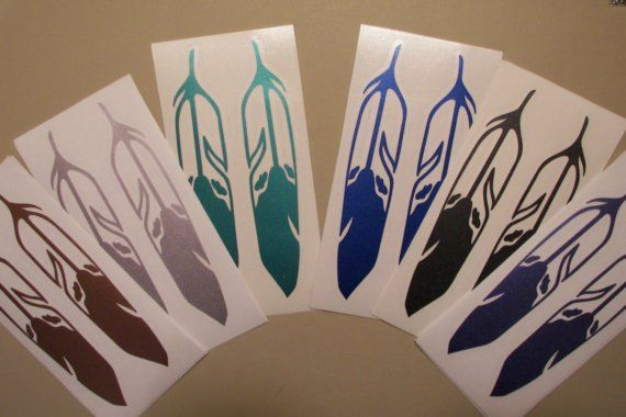 Beautiful feather decals in metallic colors by NEWD on Etsy, $10.00