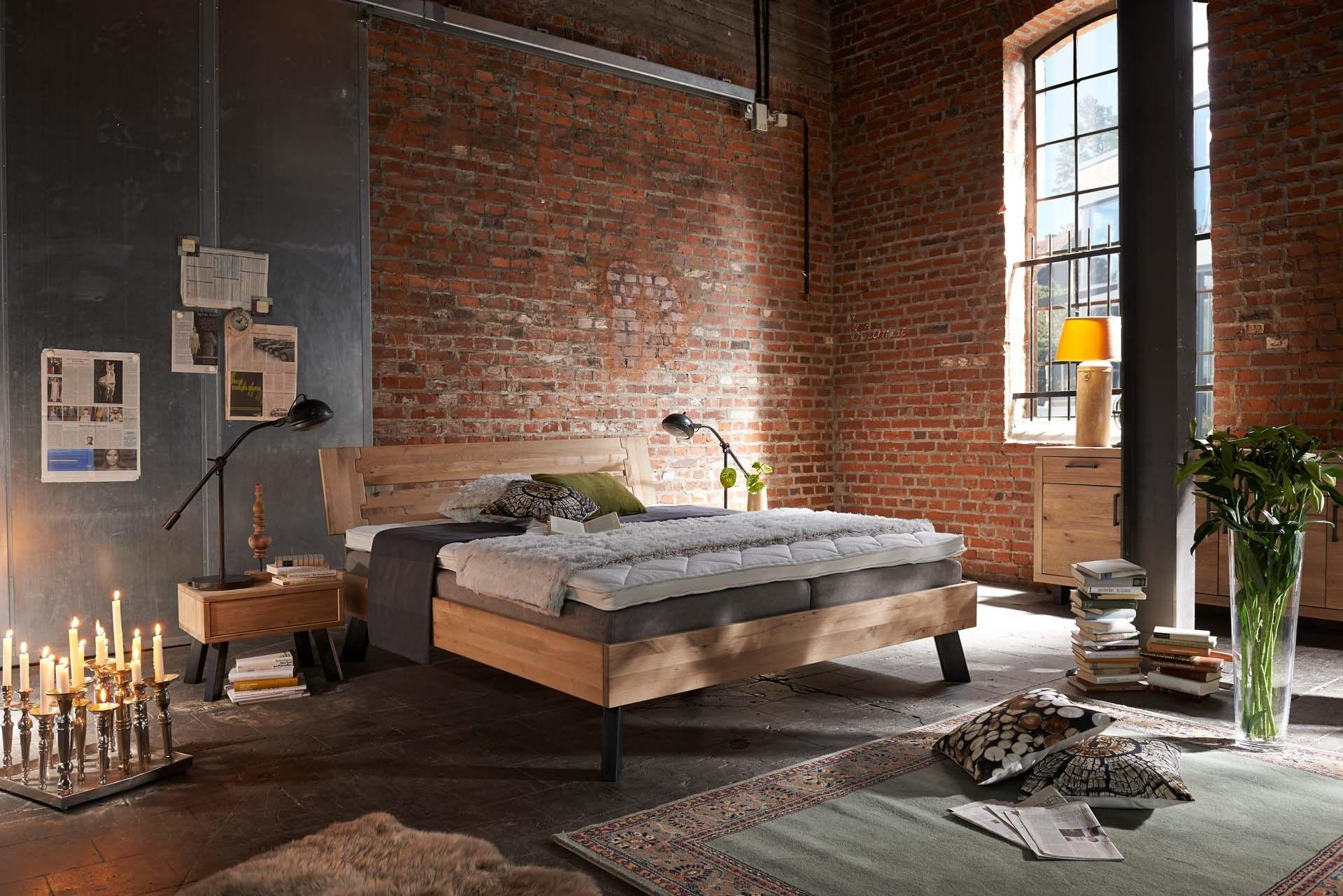 Bett eiche bianco massiv loft industriedesign for Bett industriedesign