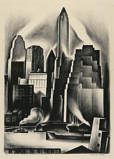 Lower Manhattan by Howard Cook (American 1901-1980)