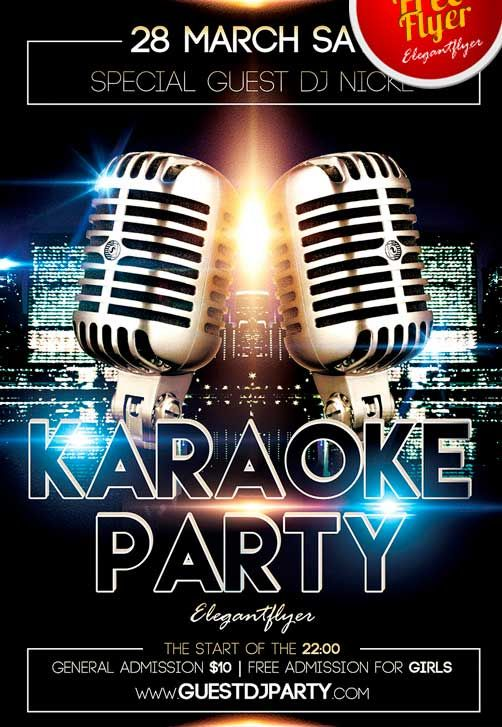 karaoke party free psd flyer template facebook cover poster