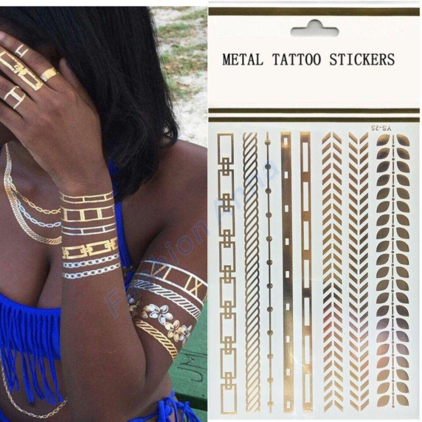 New Arrival 1Pcs Flash Tattoo Gold Henna Bracelet Metallic Tattoo