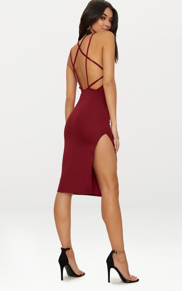 Official Site Online PRETTYLITTLETHING High Neck Extreme Strappy Back Choker Detail Midi Dress Order Online Buy Cheap Newest Sale Find Great FeRF1VUs