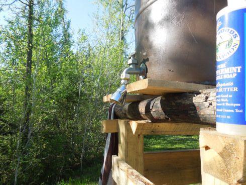 How To Make A Rain Barrel Shower Diy Sauna Cabin Homes