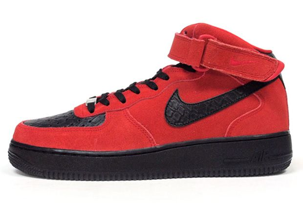 Nike Air Force 1 Mid Red Suede Black Python