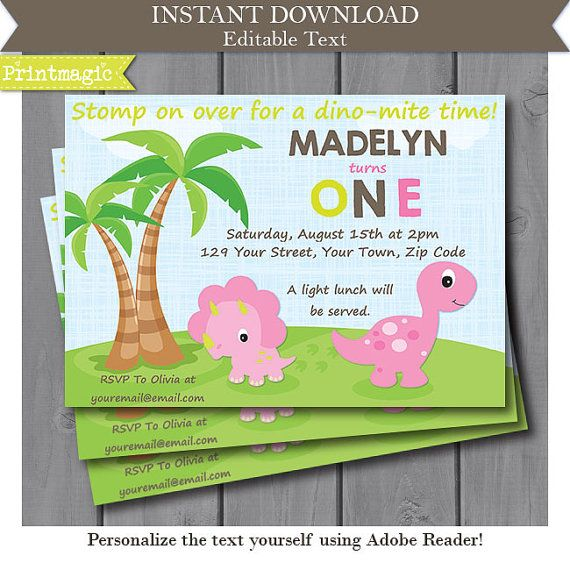 Pink Dinosaur Girl 1st Birthday Invitation Editable by printmagic - invitation for 1st birthday party girl