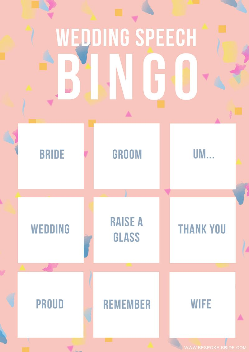 WEDDING SPEECH BINGO FREE PRINTABLE GAME | wedding | Pinterest ...