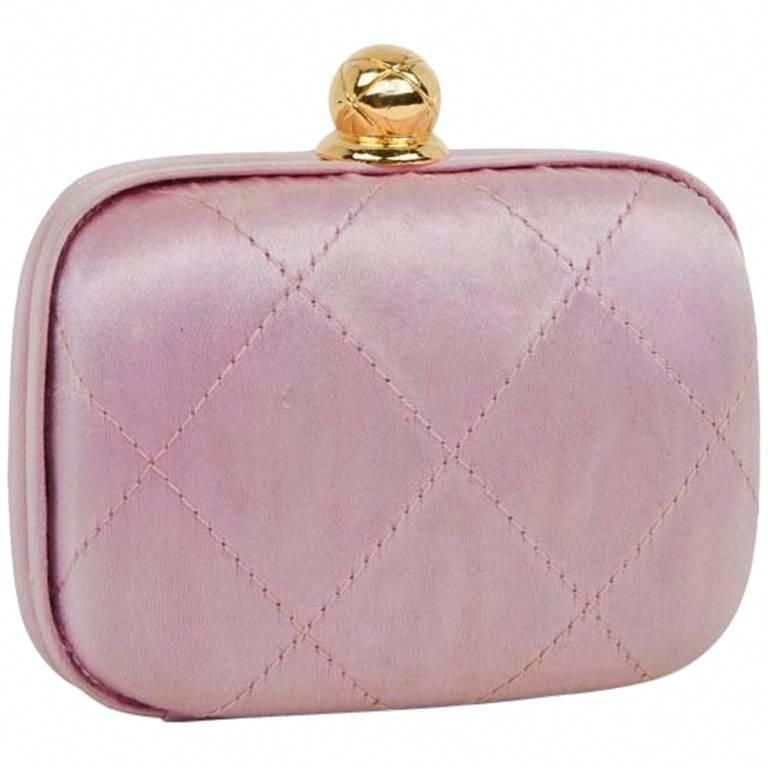 1c306ea833de CHANEL Minaudière in Pale Pink Quilted Silk Satin