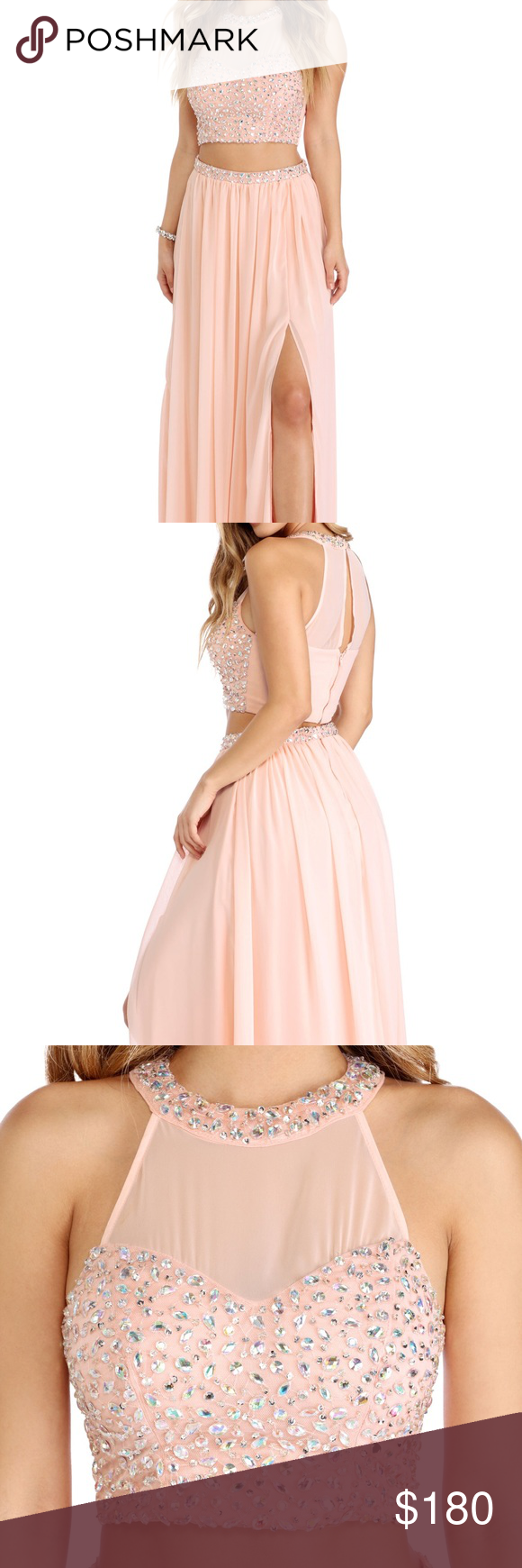 Light pink two piece prom dress size not worn i bought this