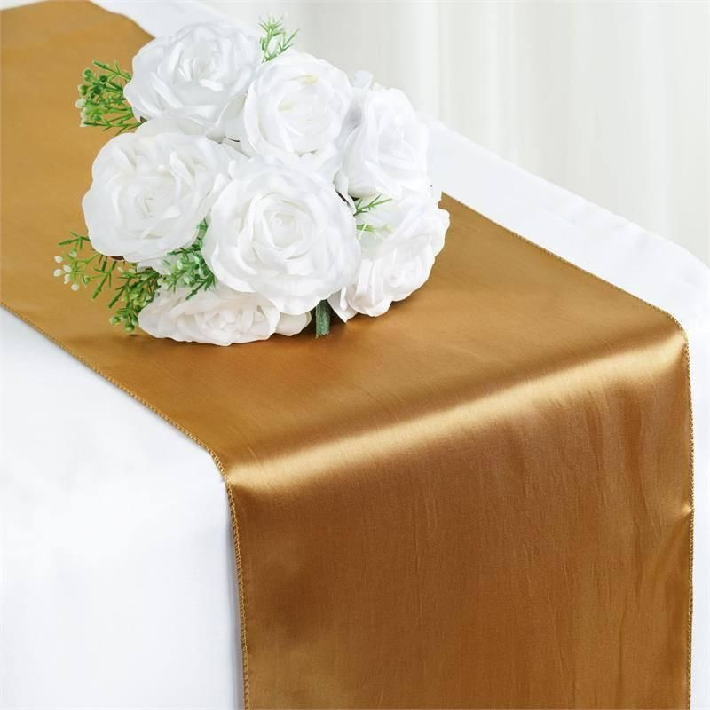 12 X108 Gold Satin Table Runner In 2020 Wedding Table Runners Gold Table Runners Wedding Gold Table Runners